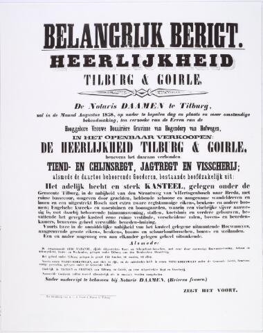 016931 - Aankondiging openbare verkoop Heerlijkheid Tilburg en Goirle; tiendrecht, cijnsrecht, jachtrecht, visserij; kasteel van Tilburg