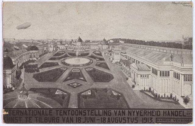 003303 - Overzicht van het tentoonstellingsterrein van de Internationale Tentoonstelling van Nijverheid Handel en Kunst, gehouden te Tilburg van 18 juni t/m 18 aug. 1913.