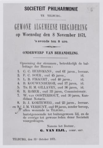 """043817 - Uitnodiging voor de """"Gewone Algemeene Vergadering"""" van 8 novemberr 1871, van sociëteit Philharmonie te Tilburg."""
