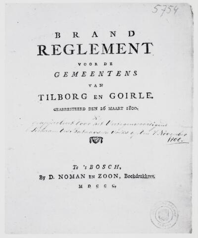 103586 - Brandweer.Brandreglement voor de gemeenten Tilburg en Goirle(1800).
