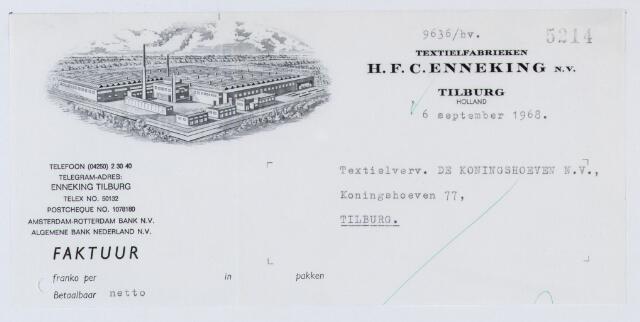 060039 - Briefhoofd. Nota voor Textielverv. De Koningshoeven N.V. , Koningshoeven 77 van  H.F.C. Enneking, fabrikanten van wollenstoffen, Goirkestraat 89