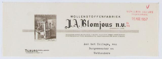 059643 - Briefhoofd. Textielindustrie. Briefhoofd van Wollenstoffenfabriek J.A. Blomjous N.V., Veemarktstraat 12