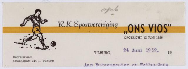 """061501 - Briefhoofd. Verenigingen. Briefhoofd van R.K. Sportvereniging """"Ons Vïos"""", Groenstraat 244"""