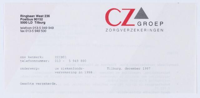 059874 - Briefhoofd. Briefhoofd van CZ Groep Zorgverzekeringen, Ringbaan-West 236