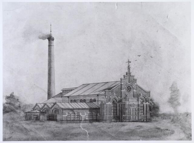 018967 - Ontwerptekening van een machinekamer en ketelhuis voor de Tilburgse Waterleidingmaatschappij aan de Gilzerbaan, dat in 1898 zou worden gebouwd