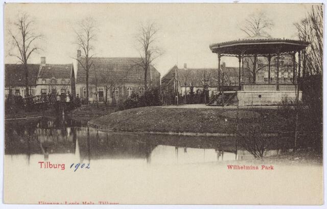 002872 - Wilhelminapark, vijver en muziekkiosk.
