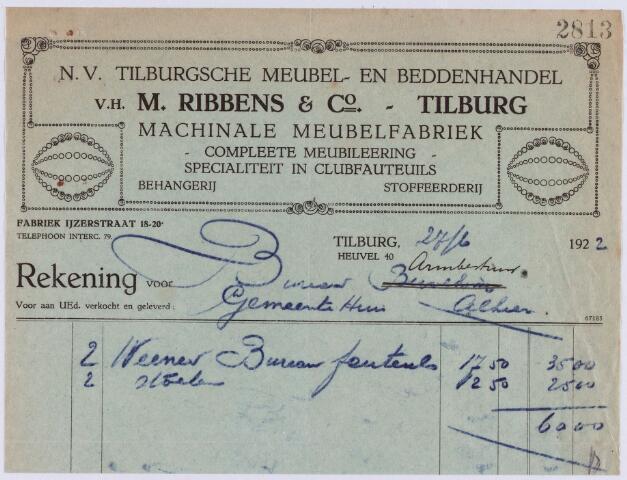 060971 - Briefhoofd. Nota van N.V. Tilburgsche Meubel- en beddenhandel v.h. Firma M. Ribbens & Co, Tuinstraat 34 - Heuvel 10 - Ijzerstraat 20 voor Armbestuur van de gemeente Tilburg