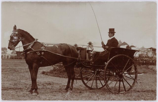 103854 - Tentoonstelling Stad Tilburg 1909 gehouden van 15 juli - 8 augustus 1909  Handel Nijverheid en Kunst. Koets met paard.