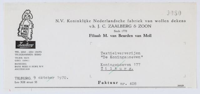 """059627 - Briefhoofd. Nota van N.V. Koninklijke Nederlandsche fabriek van wollen dekens v.h. J.C. Zaalberg & Zoon, filiaal: M. van Beurden van Moll, LeoXIII-straat 55, voor Textielververijen """"De Koningshoeven"""", Koningshoeven 77"""