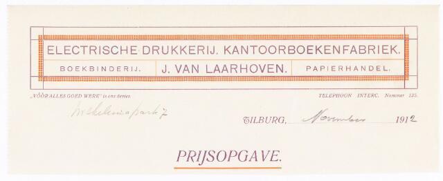 060532 - Briefhoofd. Briefhoofd van J van Laarhoven, Electrische drukkerij, kantoorboekenfabriek, boekbinderij en papierhandel, Wilhelminapark 7