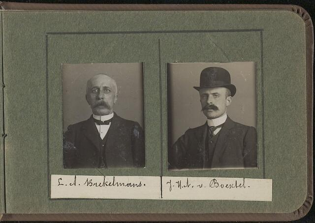 603963 - Links L.A. Brekelmans, rechts J.H.A. van Boextel. Albumblad met zogenaamde TipTop-pasfoto´s van het personeel van de gemeentesecretarie van Tilburg, omstreeks 1916.