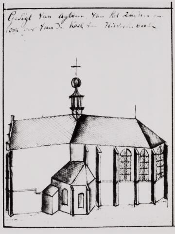 084445 - Koor en zijkapel van de St. Petruskerk te Hilvarenbeek. Uit het schetsboek van Hendrik Verhees.