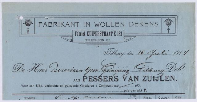 060899 - Briefhoofd. Nota van Pessers van Zuijlen, fabrikant in wollen dekens, Kuiperstraat K 183, voor de gemeente reiniging te Tilburg