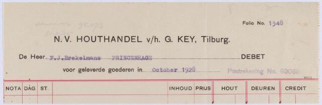 061241 - Briefhoofd. Nota van N.V. Houthandel v/h G. Key voor Firma F.J. Brekelmans te Princenhage