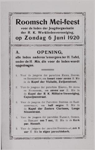 040966 - Vakbeweging. Programma 'Roomse Mei-feest' voor de jeugd van de R.K. werkliedenvereniging afd. Tilburg 6 juni 1920.
