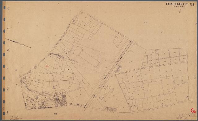 104759 - Kadasterkaart. Kadasterkaart Oosterhout. Sectie G 3e blad. Schaal 1 : 2.500.