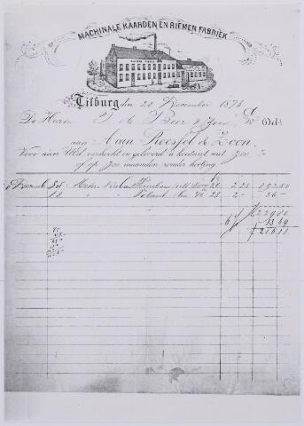 060995 - Briefhoofd. Nota van A. van Roessel & Zoon, machinale kaarden en riemen fabriek, voor T de Beer & Zoon