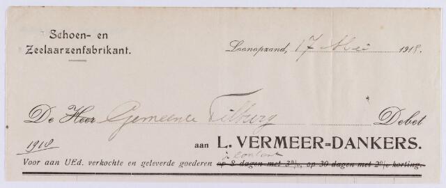061322 - Briefhoofd. Nota van L. Vermeer-Dankers, schoen- en zeelaarzenfabrikant voor de gemeente Tilburg