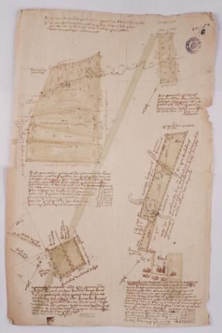 056364 - (Foto van een) kaart van de conventsgoederen van Tongerlo onder Goirle. Onderaan links het dorp Goirle (Gool) met de parochiekerk.