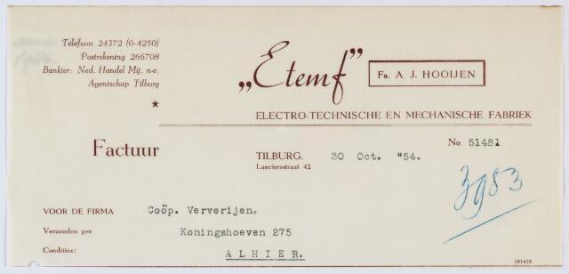 """060068 - Briefhoofd. Nota van """"Etemf """" fa. A.J. Hooijen Electro- technische en mechanische fabriek, Lancierstraat 42 voor Coöp. Ververijen, Koningshoeven 275"""
