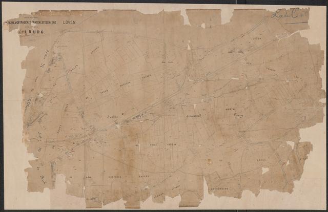 652638 - Wegenlegger. Kaart van de openbare wegen, voetpaden, straten, stegen, etc. Tilburg, Sectie B (Loven), blad 2. Schaal 1:2500. Ongedateerd.