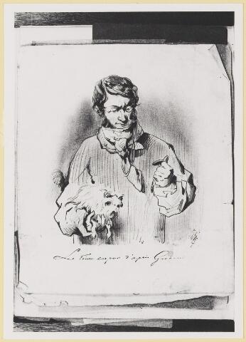 """073449 - tekening door mr. Abraham Hendrik Balbian Verster (1830-1915) Geboren te  Amsterdam overleden te Oisterwijk. Hij woonde met met zijn gezin in 'De Drye Swaantjes"""" aan de Lind. Hij was kantonrechter te Boxtel en Tilburg, bovendien was hij rentmeester over de goederen van baron van Lijnden, hij was stichter van de Israëlische begraafplaats aan de Hondsbergselaan. Een aantal schetsportretten van zijn hand zijn bewaard gebleven."""