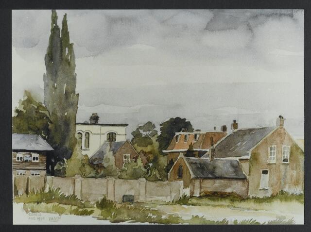 """072171 - Aquarel. Frater Paschalius """"Goirle in aquarel"""". De Kloosterstraat gezien vanuit de St. Jansstraat met links een detail van het voormalige gebouw van de scouting aan de St. Jansstraat en op de voorgrond het braakliggend terrein, waarop vroeger garage Spijkers zat. Rechts de achterzijde van de huizen aan de Kloosterstraat. Op de voorgrond rechts het huis van de familie Van Besouw-Smulders, nu kapsalon."""