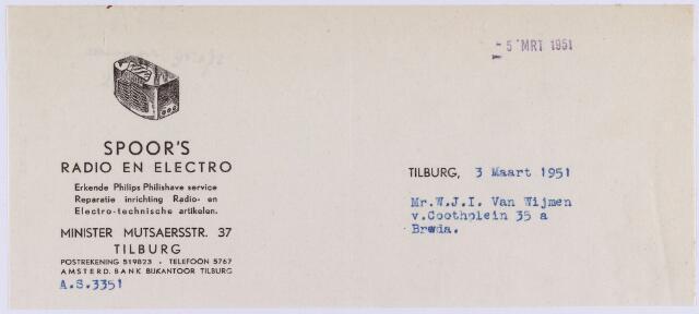 061159 - Briefhoofd. Nota van Spoor's Radio en Electro, Minister Mutsaersstraat 37 voor Mr. W.J.I. van Wijmen, v. Coothplein 35a te Breda