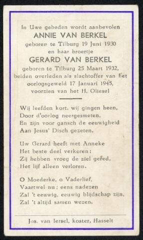 604335 - Tweede Wereldoorlog. Oorlogsslachtoffers. Bidprentje ter nagedachtenis aan Annie en Gerard van Berkel, omgekomen bij de granaatinslag in de Hasseltstraat op 17.1.1945.