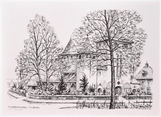 033245 - Tekening. R.K. Kerk van de Kleine H. Theresia aan het Theresiaplein.    Door H.Corvers.