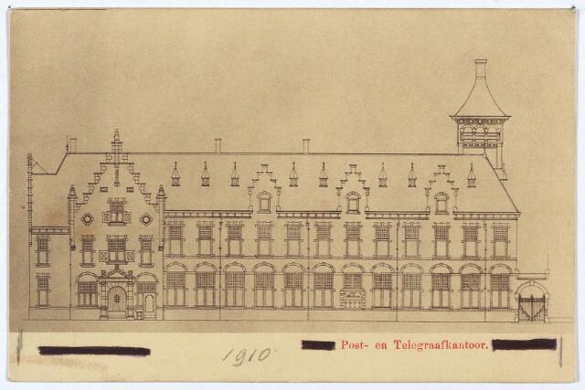 002997 - Tekening van het post- en telegraafkantoor, ontworpen door de rijksbouwmeester van het 2e district, D.E.C. Knuttel in neo-renaissancestijl. Deze gevel met hoofdingang (links) stond aam de Telegraafstraat. De zijgevel links stond aan de Willem II-straat.