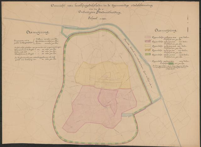 652534 - Overzicht bevolkingsdichtheden in de tegenwoordige stadsbebouwing en in de ontworpen stadsuitbreiding.