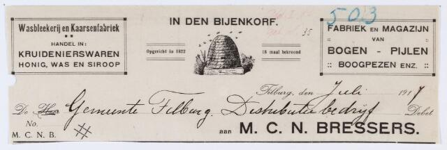 059726 - Briefhoofd. Nota van M.C.N. Bressers, in den Bijenkorf, voor gemeente Tilburg