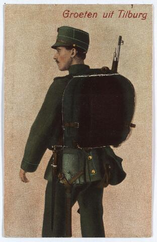 3098_1 - Fantasiekaart, achter de ransel van de soldaat een aantal ansichtkaartjes van Tilburg.