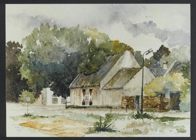 """072163 - Aquarel. Frater Paschalius """"Goirle in aquarel"""", op de voorgrond het voormalige Kerkhofpad met in het midden het pandje op de hoek van dit pad en de Bergstraat."""