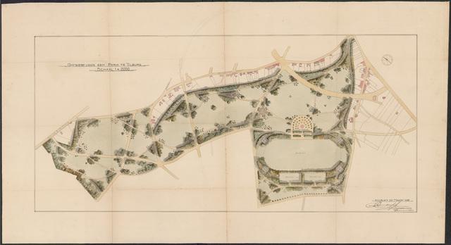 652540 - Ontwerp voor een park ten zuiden van de Berkdijksestraat, ingekleurd. Tekening van Leonard Springer. Tek. 29/3/1920.