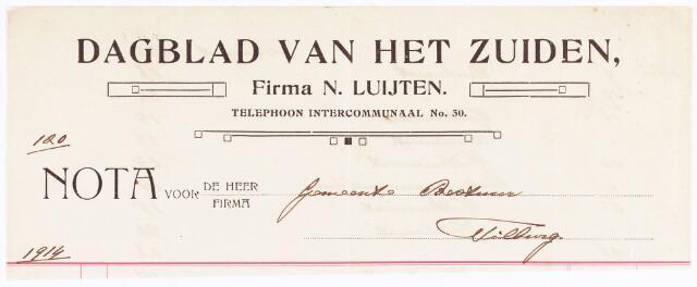 060625 - Briefhoofd. Nota van Dagblad van het Zuiden, firma N. Luijten, Willem-II-straat 25-27, voor de gemeente Tilburg