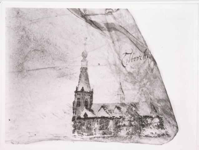 035879 - Detail. Kaart. Manuscriptkaart vervaardigd door Roelof van der Vleuten, notaris en landmeter van Riel en omgeving. Op de kaart de kerk en molen van Riel, de kerk van Goirle, de oudste kerk van Tilburg, de kerk van Alphen en de kerk van Gilze. 1657