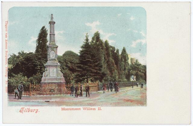 002521 - Gedenknaald voor koning Willem II hoek Monumentstraat-Paleisstraat.