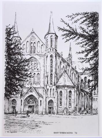 023802 - Tekening. Tekening van H. Corvers van de Besterdse kerk