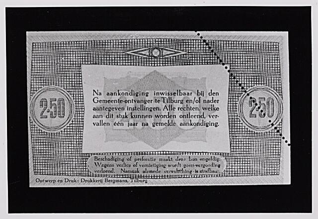 012481 - Tweede Wereldoorlog. Noodgeld. Achterzijde van een biljet van ƒ 2,50, door de gemeente Tilburg achter de hand gehouden voor noodgevallen