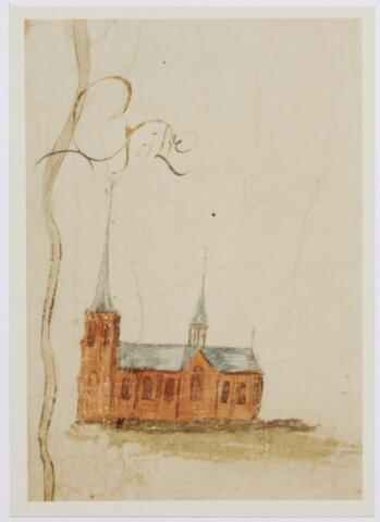 046207 - Detail. Kaart. Manuscriptkaart vervaardigd door Roelof van der Vleuten, notaris en landmeter van Riel en omgeving. Op de kaart de kerk en molen van Riel, de kerk van Goirle, de oudste kerk van Tilburg, de kerk van Alphen en de kerk van Gilze. 1657