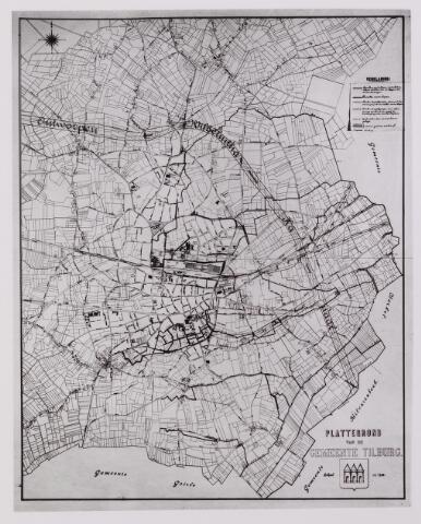 042258 - Riolering. Plattegrond van Tilburg met de bestaande waterlopen en de loop van het te graven Wilhelminakanaal