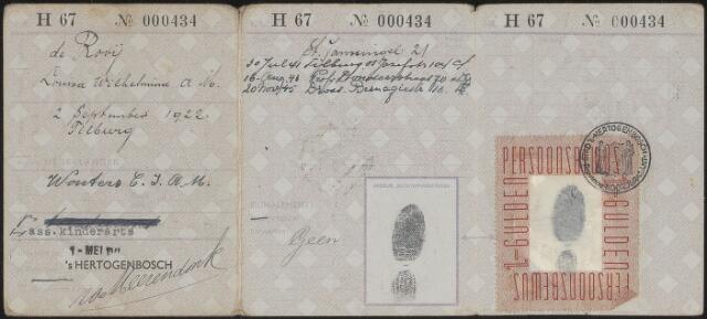 603924 - Persoonsbewijs (achterkant) van Louisa Wilhelmina A.M. de Rooij Zie nr. 603923