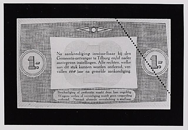 012479 - Tweede Wereldoorlog. Noodgeld. Achterzijde van een biljet van ƒ 1,-, door de gemeente Tilburg achter de hand gehouden voor noodgevallen