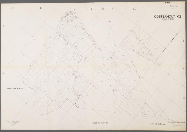 104973 - Kadasterkaart. Kadasterkaart / Netplan Oosterhout. Sectie K2. Schaal 1: 2.500.