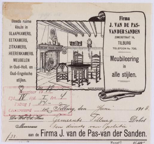 060883 - Briefhoofd. Nota van Firma J. van de Pas - van der Sanden, fabriek en magazijn van meubels, spiegels enz., Zomerstraat 16 voor de gemeente Tilburg