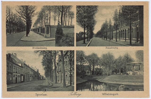 003144 - Bovenaan het kerkhof aan de Bredaseweg en de Bosscheweg (nu Tivolistraat). Onderaan de Spoorlaan en het Wilhelminapark.