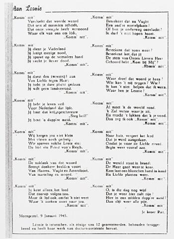 013675 - WOII; WO2; Tweede Wereldoorlog. Verzet. Gedicht dat Piet van Harssel op 9 januari 1945 maakte naar aanleiding van de thuiskomst van zijn zus, verzetstrijdster Leonie van Hassel