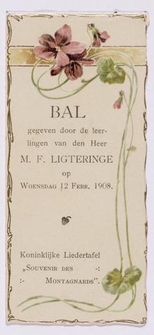 052409 - Muziekleven. Uitnodiging voor een bal gegeven door de leerlingen van de heer M.F. Ligteringe bij de Koninklijke Liedertafel Souvenir des Montagnards.